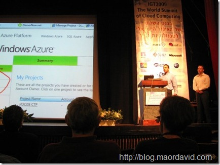 Maor David-Pur is demonstrating Windows Azure